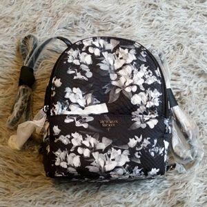 Victoria Secret black floral backpack purse NWT